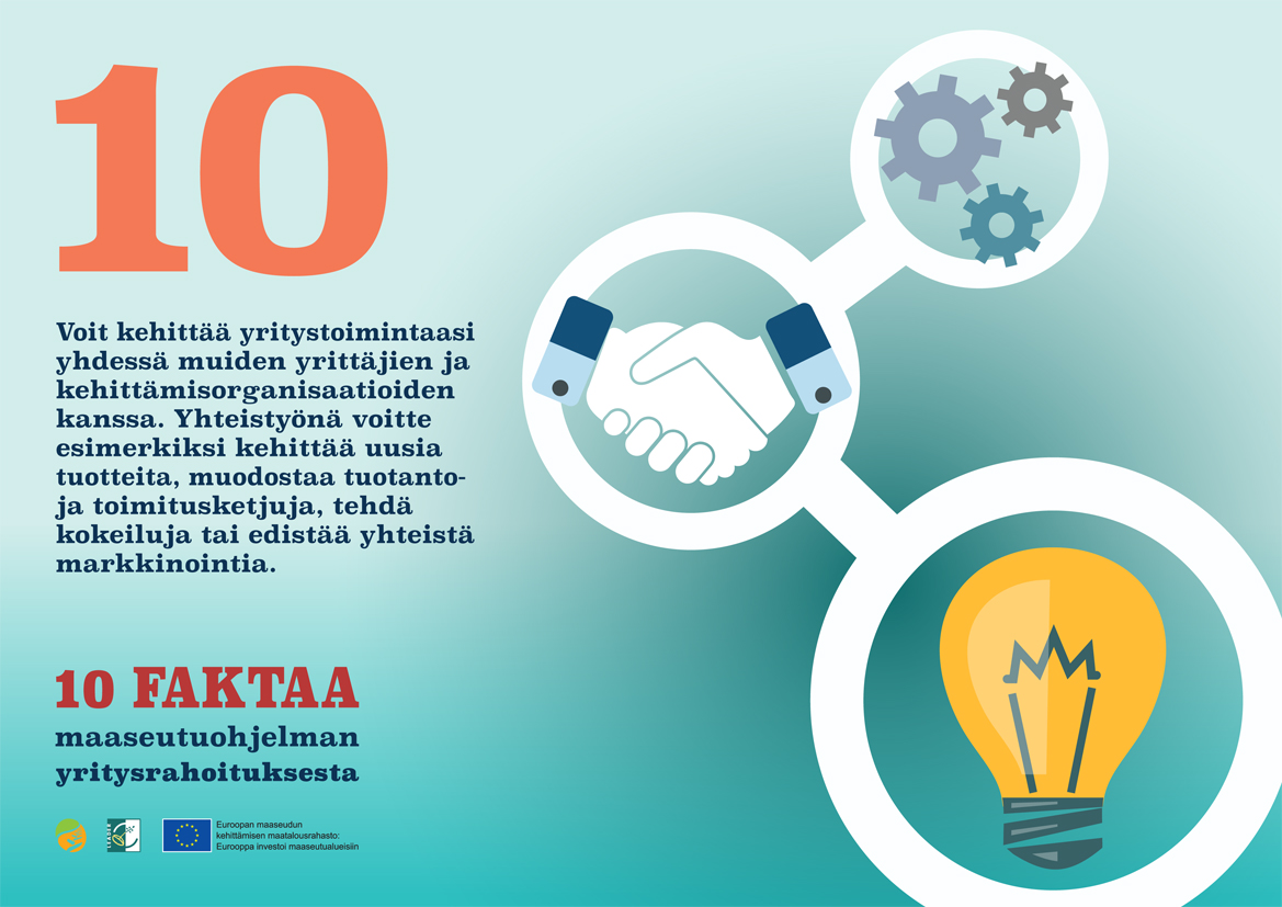 Fakta numero 10. Voit kehittää yritystoimintaasi yhdessä muiden yrittäjien ja kehittämisorganisaatioiden kanssa.