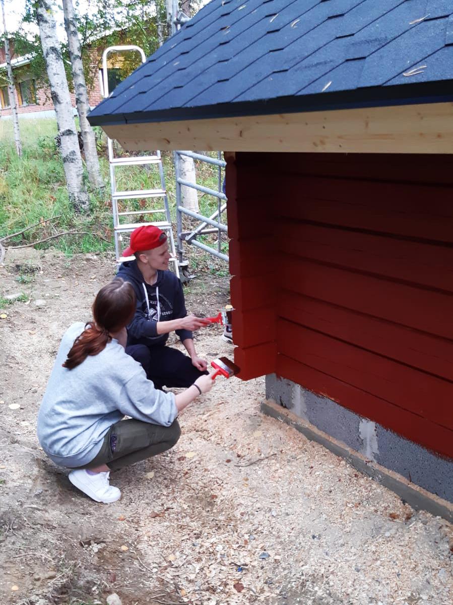 Nuoret maalaamassa kotaa.