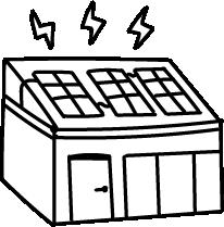 Piirretty kuvituskuva, maatila, aurinkopaneeleja katolla.