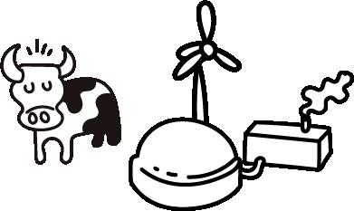 Piirretty kuvituskuva, biokaasulaitos, maatila.