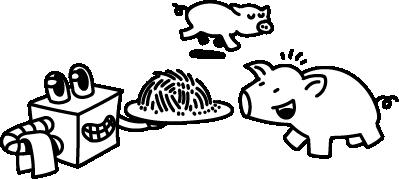 Piirretty kuvituskuva, porsaat, eläinten hyvinvointi.