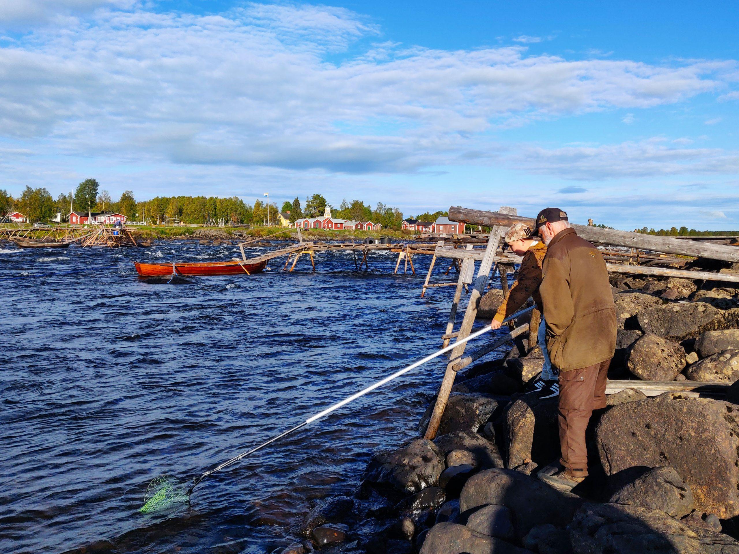 Nuori lippoaa yhdessä kalastajan kanssa.
